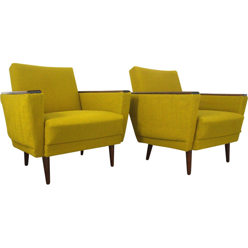 Pair of easychairs in yellow and wood - 1950s
