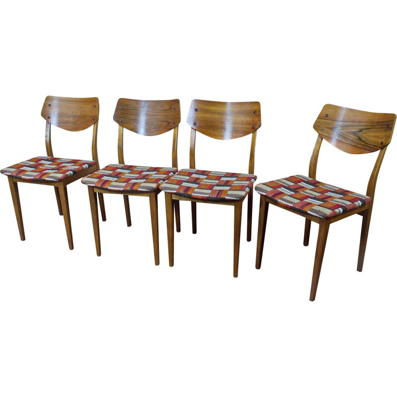 Set of 4 German diners chairs in walnut - 1960s