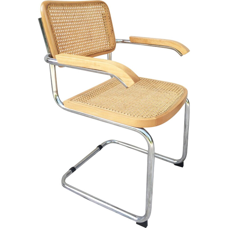 Vintage armchair with seat and backrest made of cane - 1970s