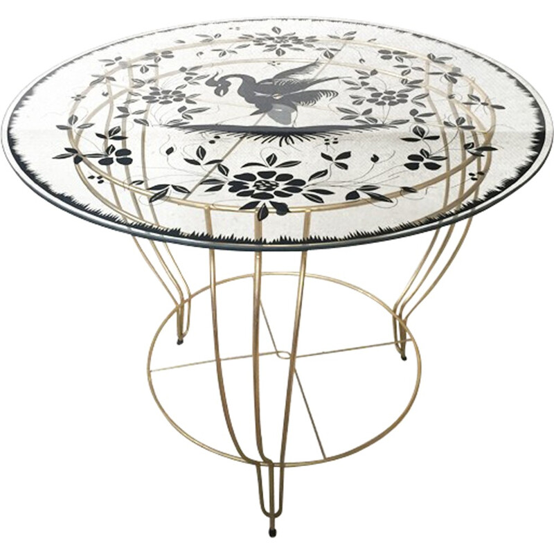 Vintage pedestal table in golden metal and glass - 1950s