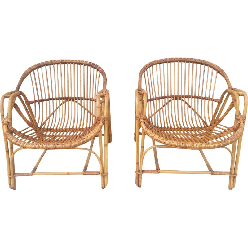 Set of 2 vintage rattan armchairs - 1960s