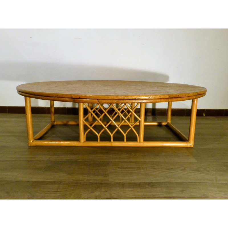 French Market Coffee Table: Large Vintage Rattan Coffee Table