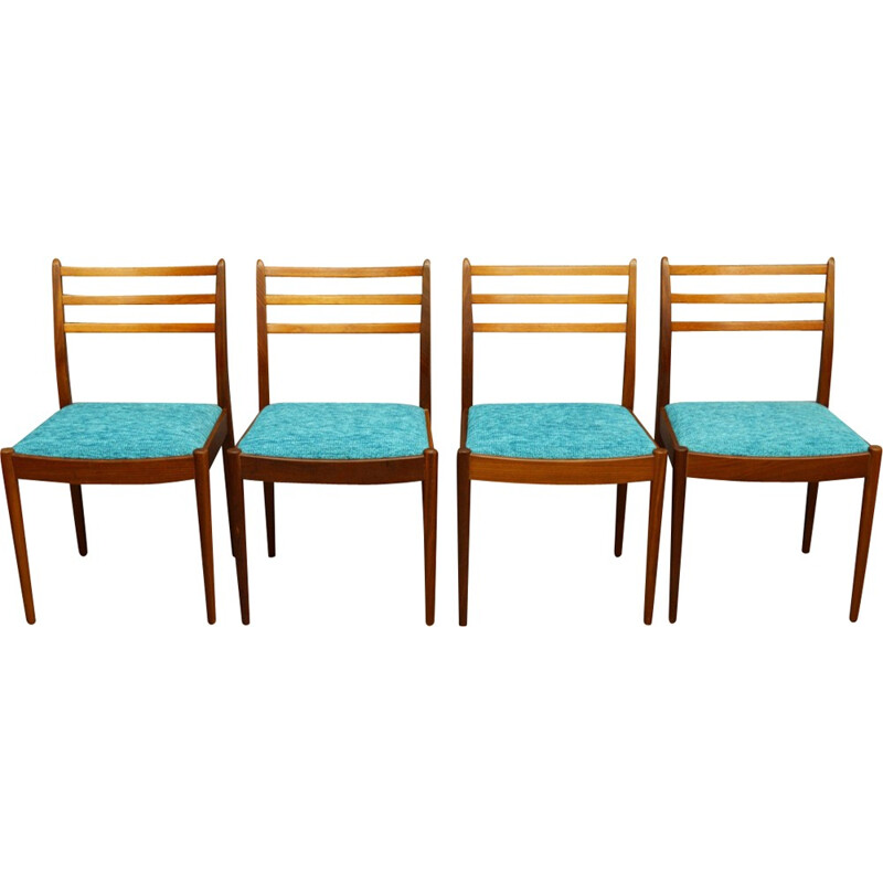 Set of 4 vintage teak and fabric dining chairs by G-Plan - 1960s