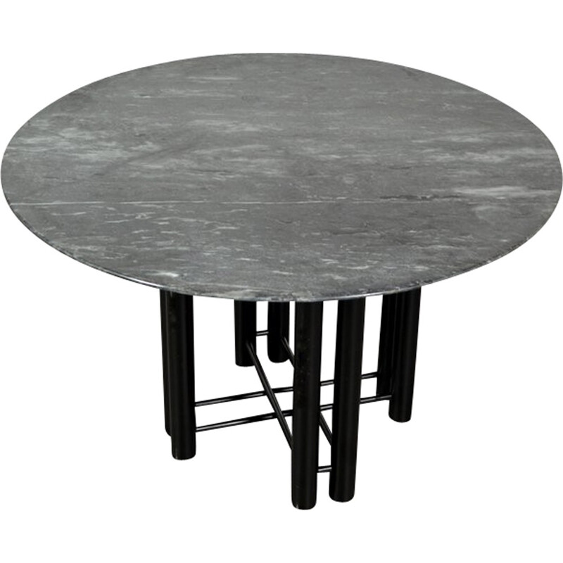 Vintage dining table made of marble and metal - 1980s
