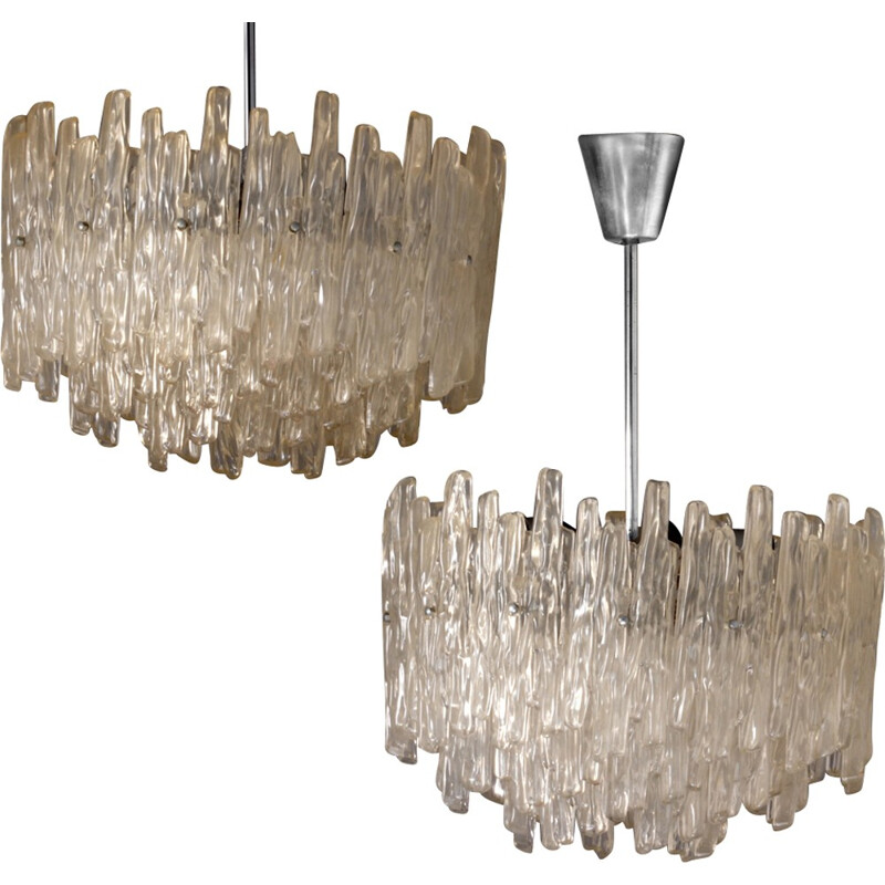 Vintage chandelier in plastic and metal by Vest - 1960s