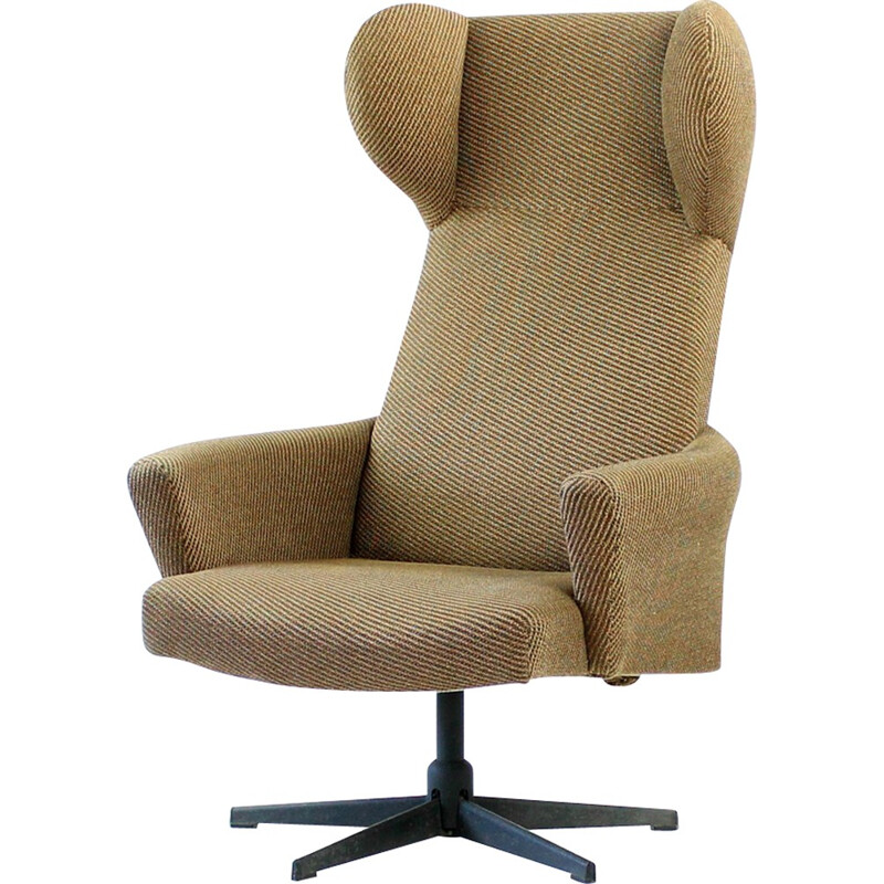 Swivel Wing Chair in Original Brown Fabric, Czechoslovakia - 1970s