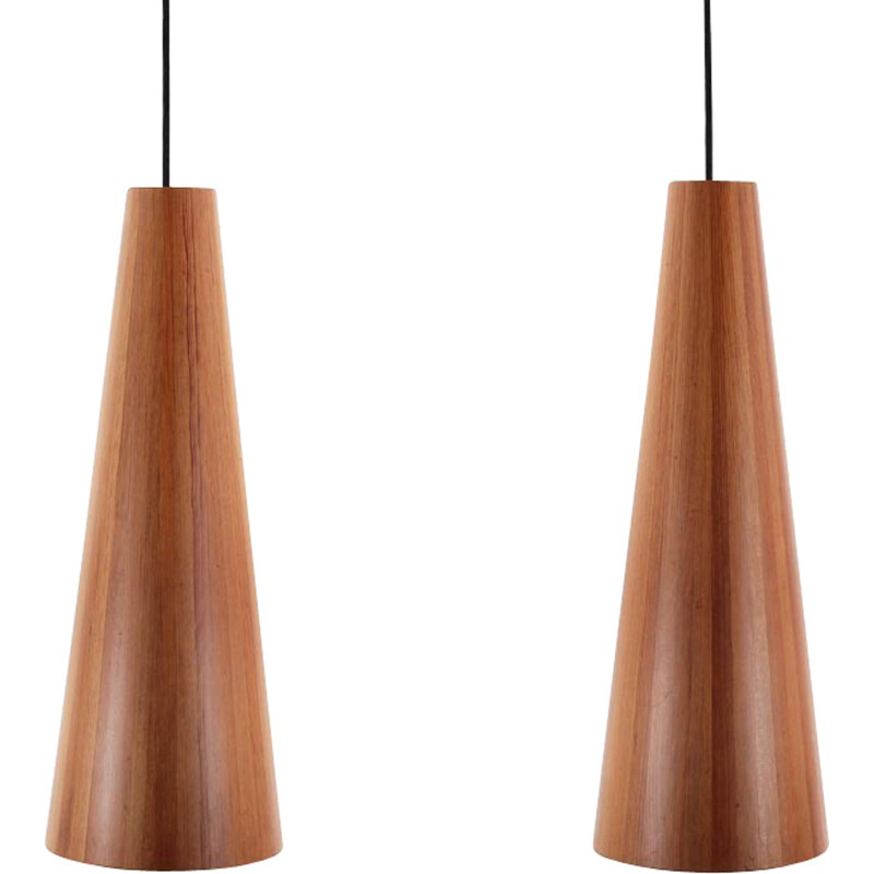 pair of large pinewood hanging lamps by jgen wolf for torben rskov 1950s