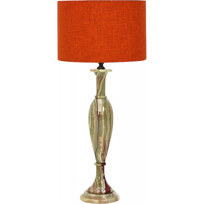 Vintage Table Lamp With Marble Base And Orange Lamp Shade   1960s