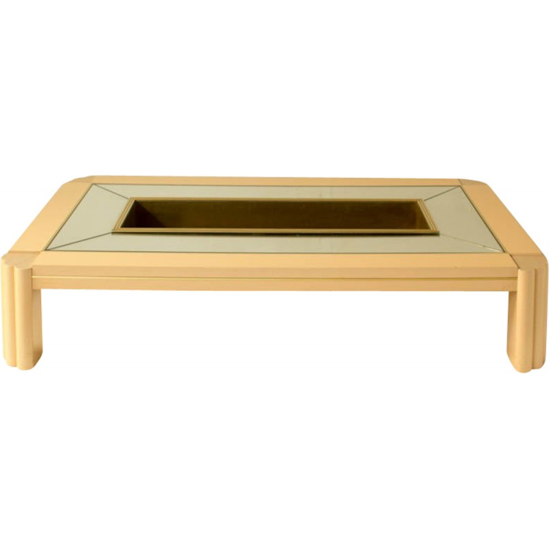 Vintage coffee table in brass and wood by Alain Delon for Sabot ...
