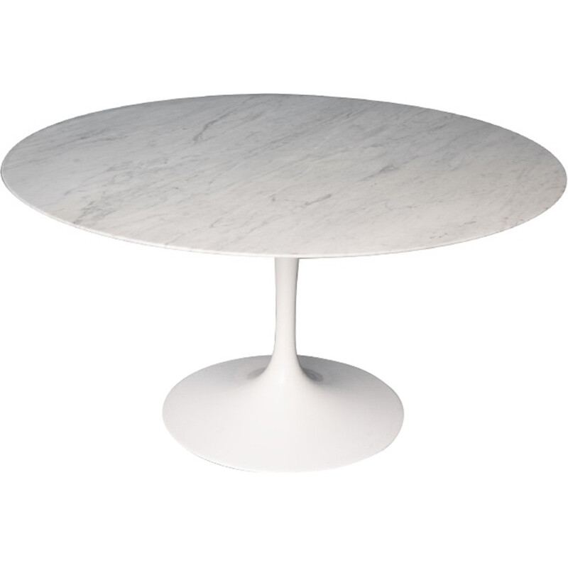 Round vintage marble white dining Table by Saarinin pour Knoll - 1970s