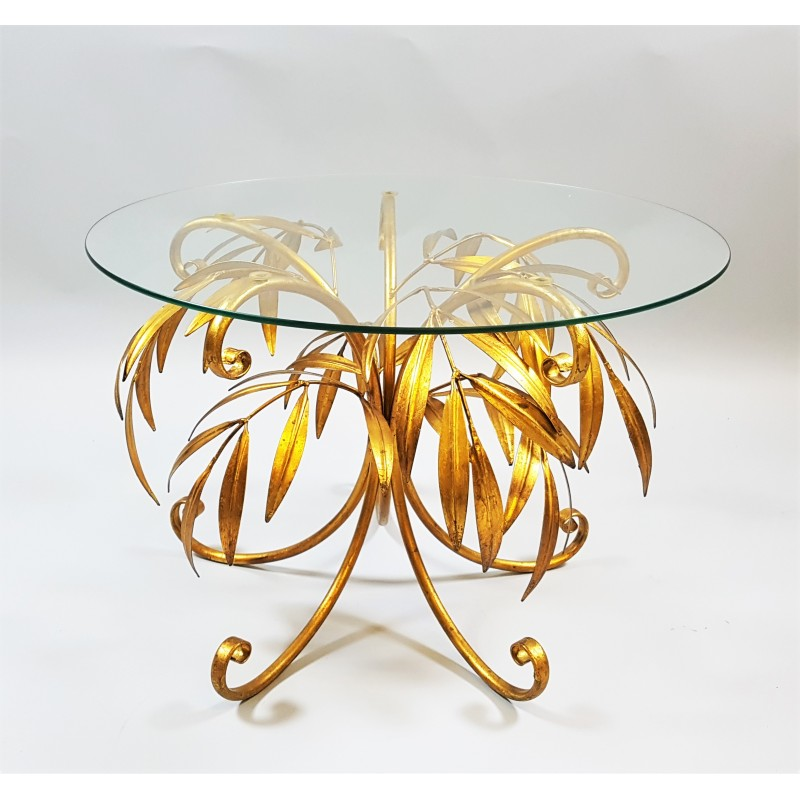 Vintage Gold Palm Tree Coffee Table By Hans Kögl 1960s