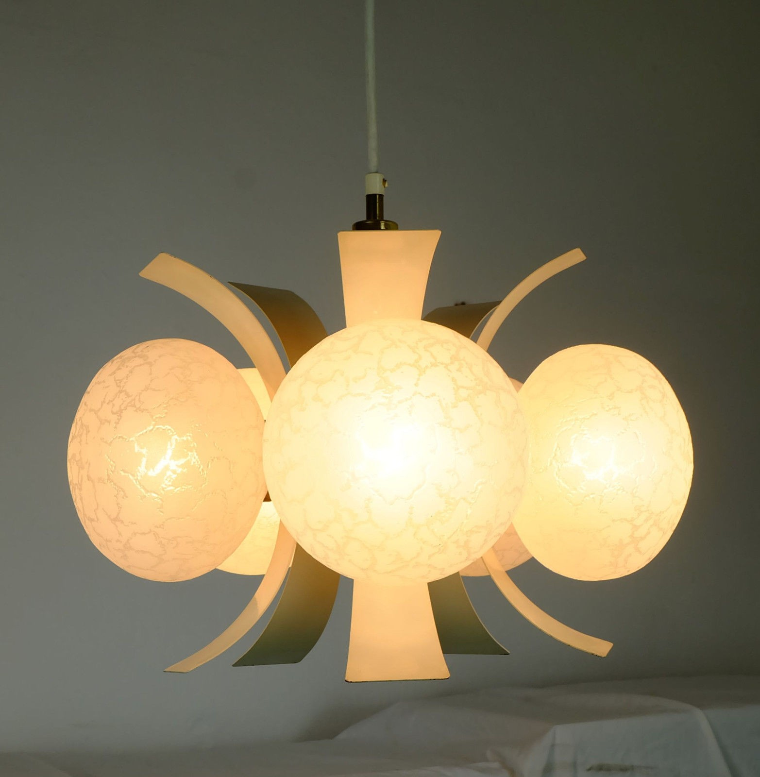 Sputnik orbit chandelier lacquered metal and glass 1960s
