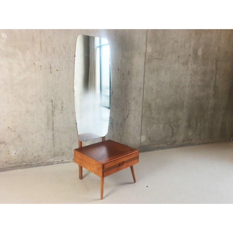 Mid Century Full Length Bedroom Mirror With Single Drawer 1960s