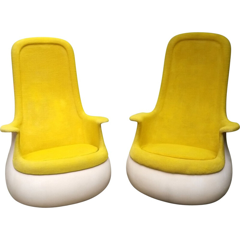 """Pair of """"Culbuto"""" armchairs by Marc Held - 1970s"""