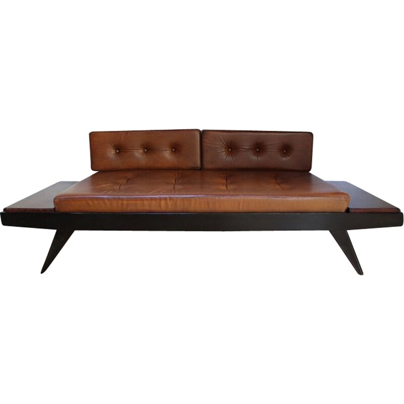 Vintage bench in beech, mahogany and brown leather by Pierre Guariche - 1950s
