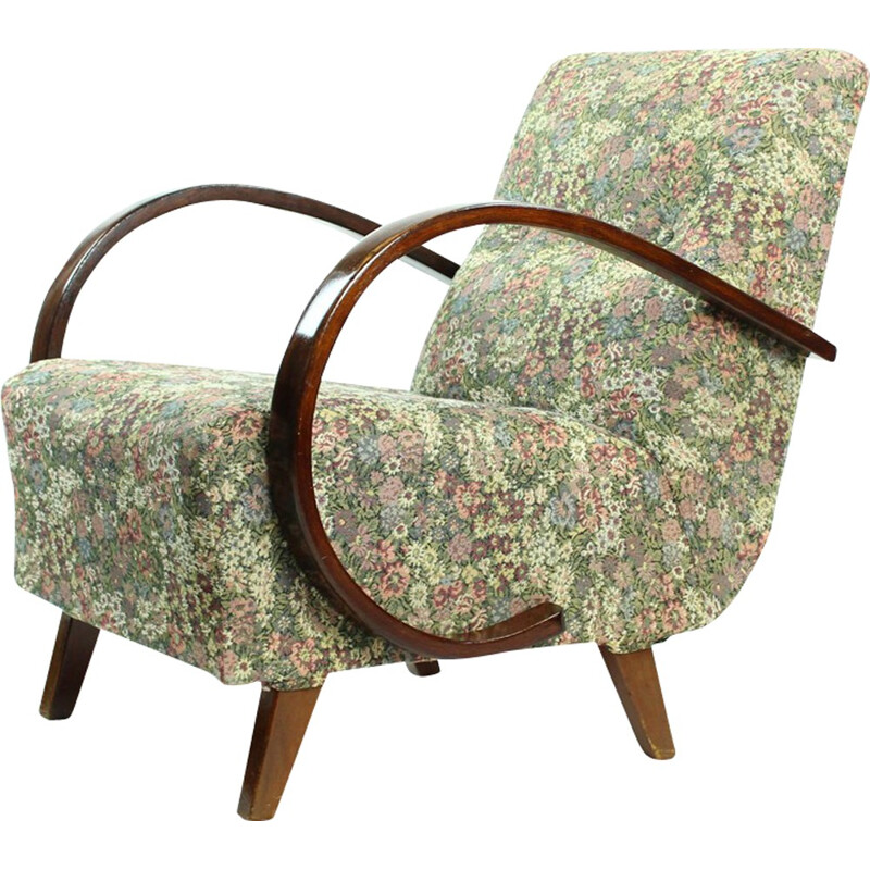 Pair of classical vintage armchairs in floral print fabric de Jindrich Halabala - 1950s