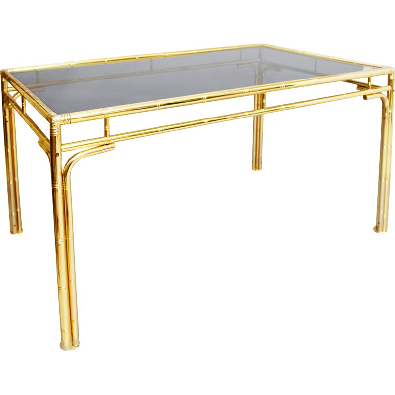 Vintage brass faux bamboo dining table - 1970s