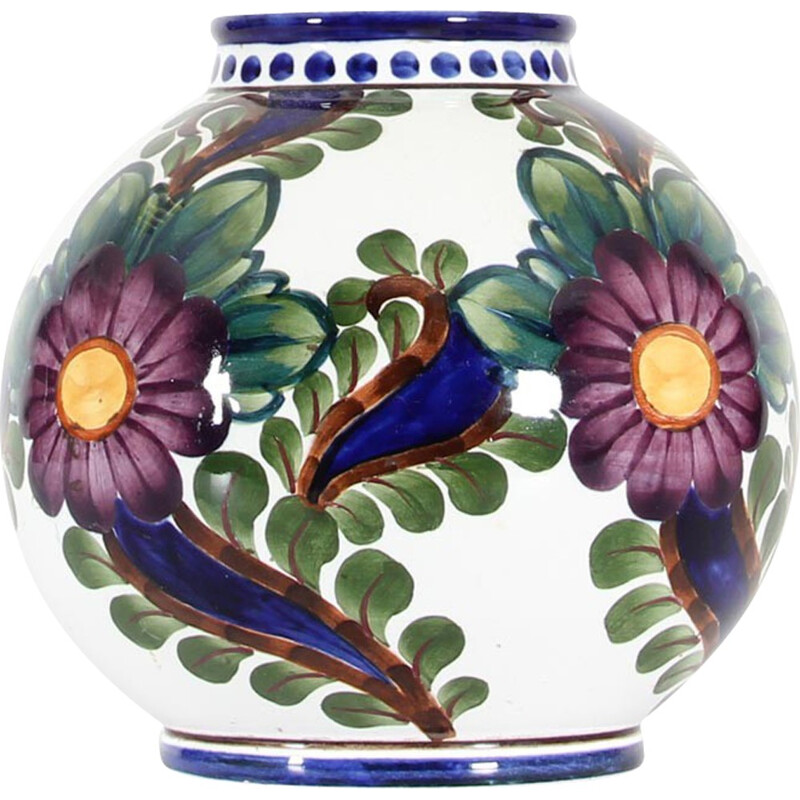Scandinavian ceramic, round vase with floral motifs by  Harald Slott-Moeller for Aluminia - 1930s