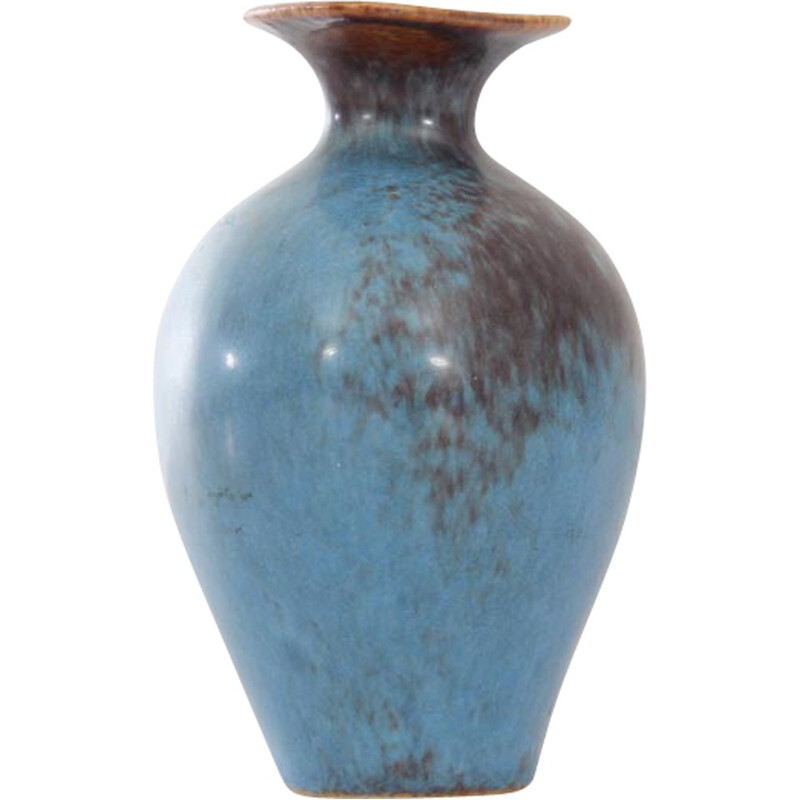 Small brown and blue scandinavian AUH vase by Gunnar Nylund for Rorstrand - 1960s