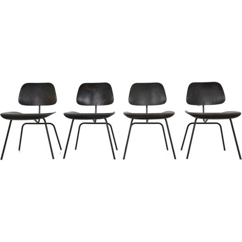 Suite of 4 Black DCM chairs by Charles and Ray Eames for Herman Miller - 1960s