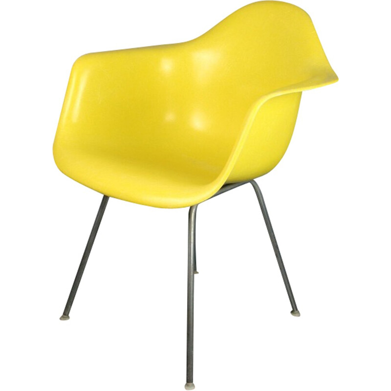 Vintage Yellow DAX Armchair by Eames for Herman Miller - 1960s