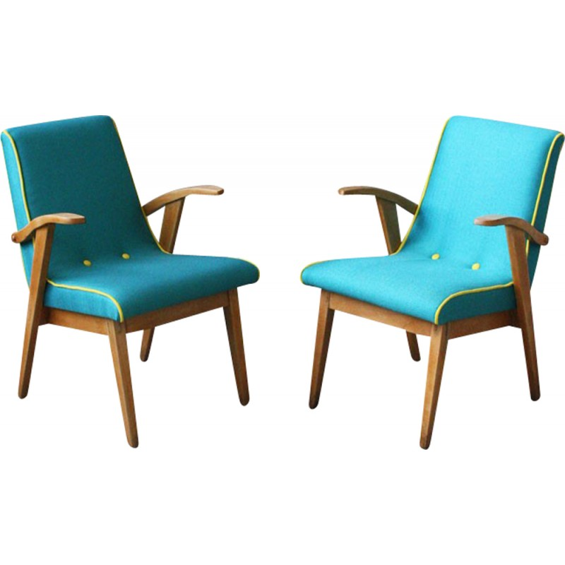 Vintage Armchair In Wood And Turquoise Fabric   1960s