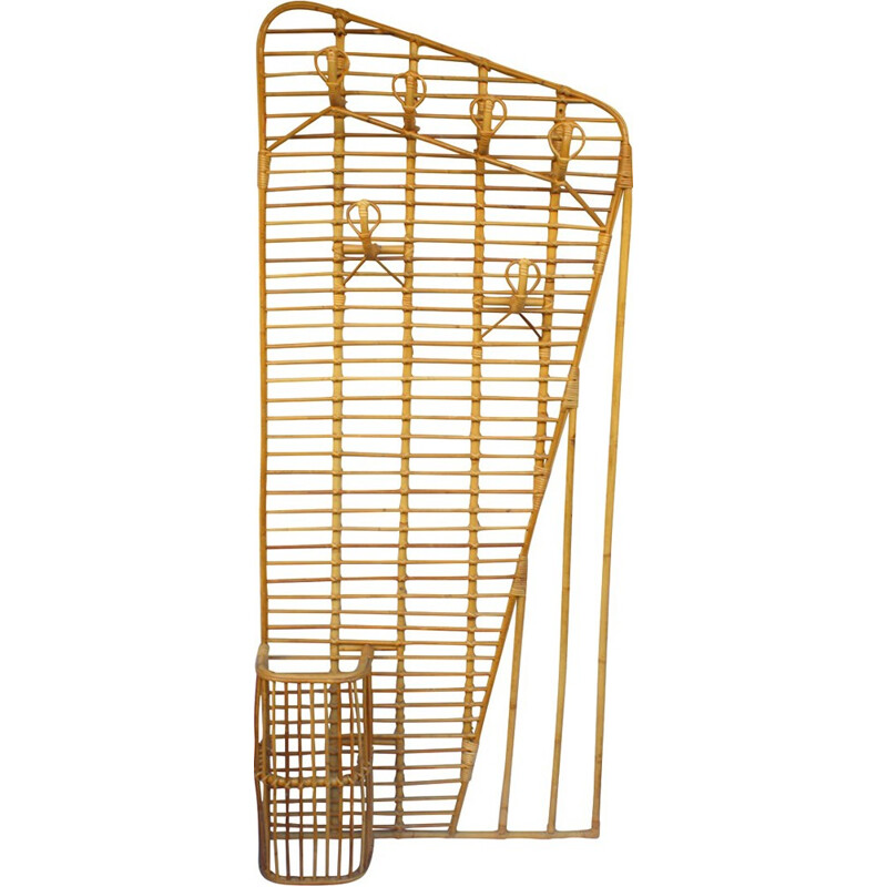 Large vintage wicker cloakroom by Louis Sognot - 1940s
