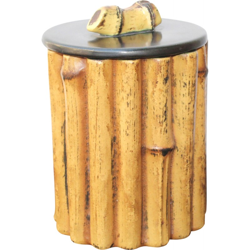 Ceramic bamboo colored pot by Pol Chambost - 1950s