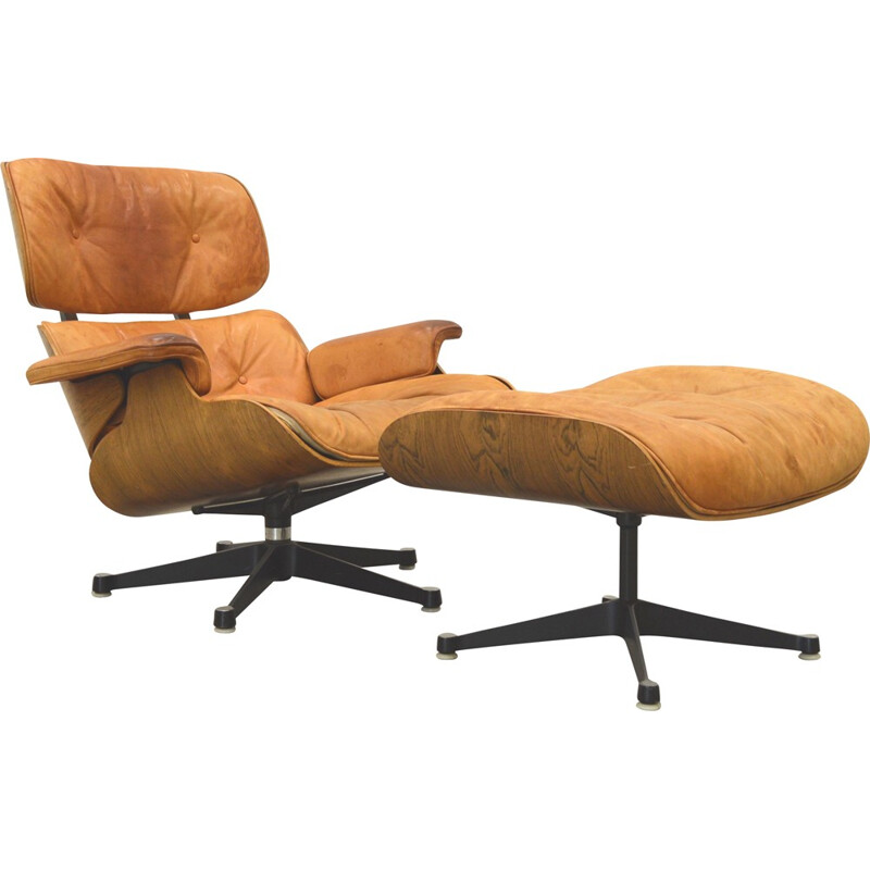 Charles Eames Cognac Lounge Chair & ottoman by Herman Miller - 1960s