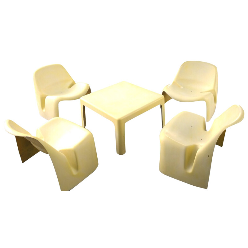 Set of 4 yellow armchaiers and a table, Luigi COLANI - 1967