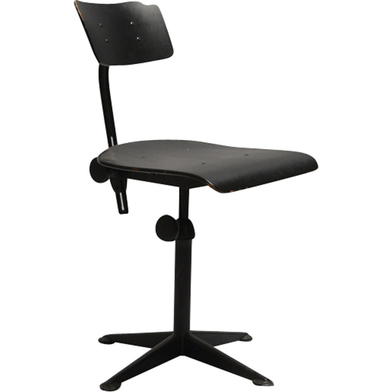 Industrial black chair by Friso Kramer for Ahrend de Cirkel - 1960s