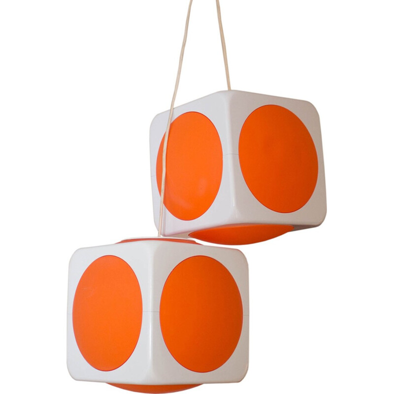 set of two vintage atomic age hanging lamps 1970s