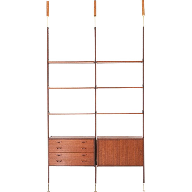 Italian Teak and Brass Floor to Ceiling Wall Unit - 1950s