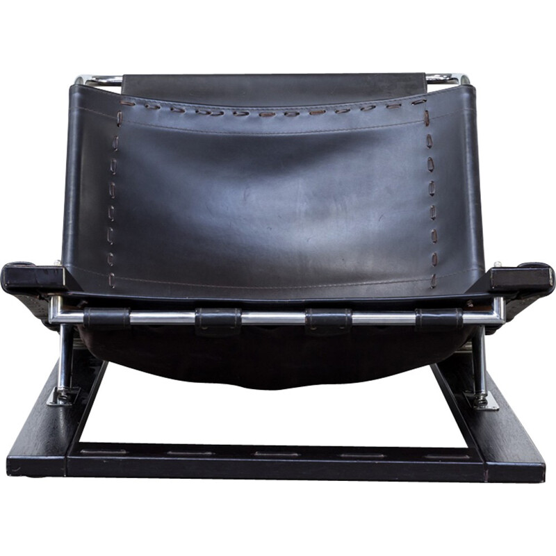 Adjustable lounge chair in saddle leather by Sonja Wasseur - 1970s