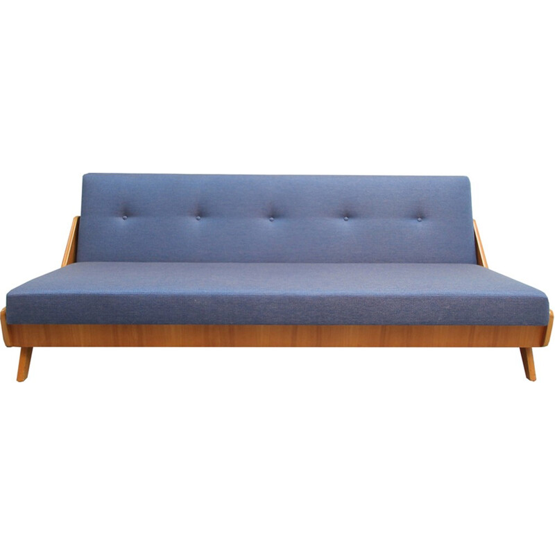 Daybed in ashwood and blue fabric - 1950s