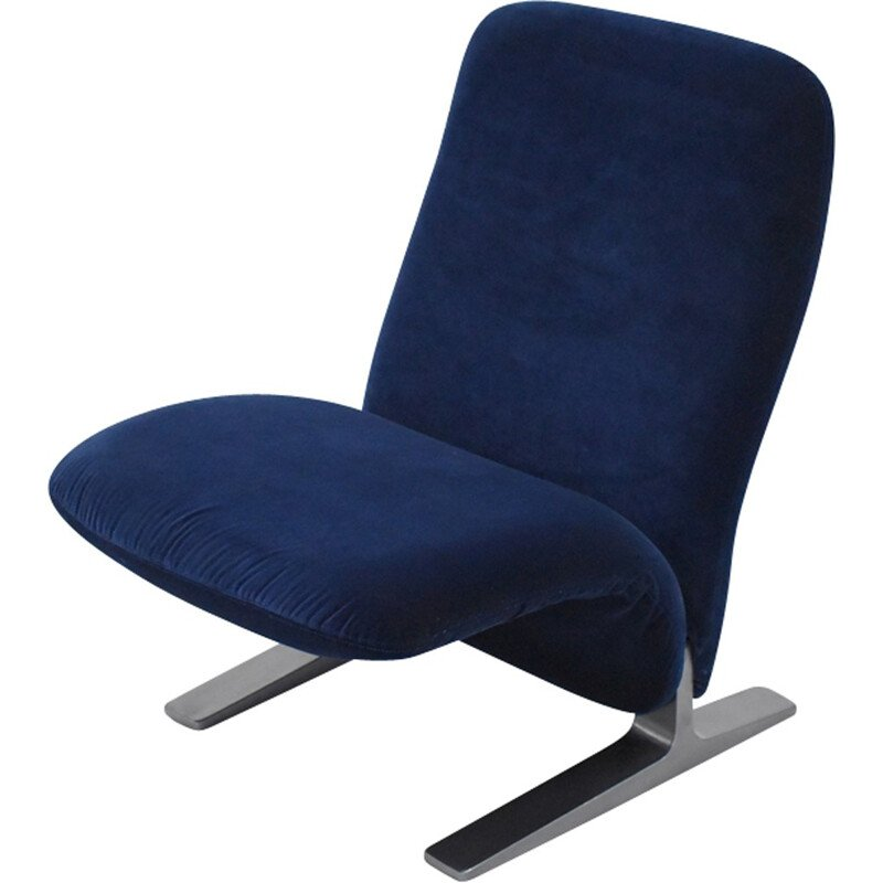 Concorde blue velvet armchair by Pierre Paulin for Artifort - 1960s