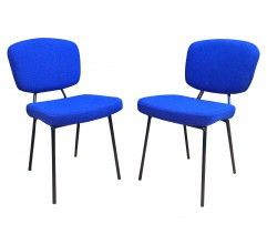 Pair of chairs in blue wool - 1960s
