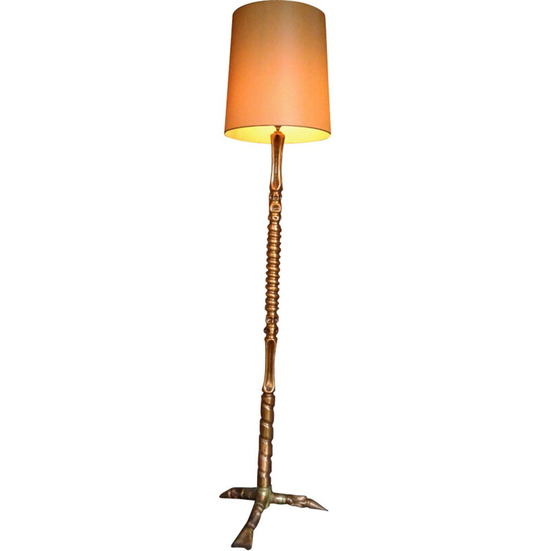 Vintage copper floor lamp - 1950s