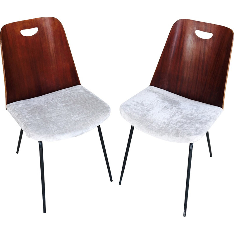 Pair of vintage chairs on a black metal - 1950s