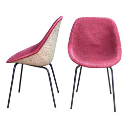 Pair of pink chairs, Geneviève DANGLES et Christian DEFRANCE - 1950s