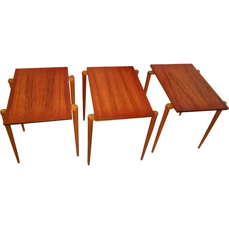 Set of 3 nesting tables in rosewood - 1950s
