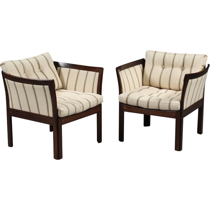 Pair of  Plexus Easy Chairs in Mahogany and White Fabric by Illum Wikkelso - 1960s