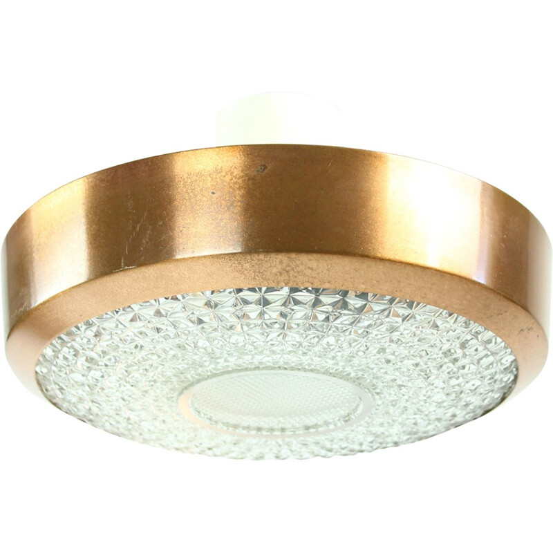 Vintage Ceiling Light in glass and copper - 1970s