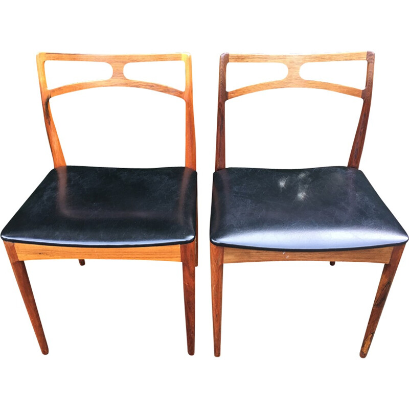 Set of 6 Solid Rosewood Chairs by Johannes Andersen for Christian Linneberg - 1960s