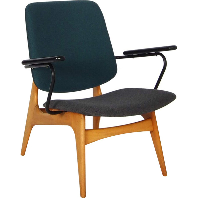 Blue dutch armchair by Wébé - 1950s