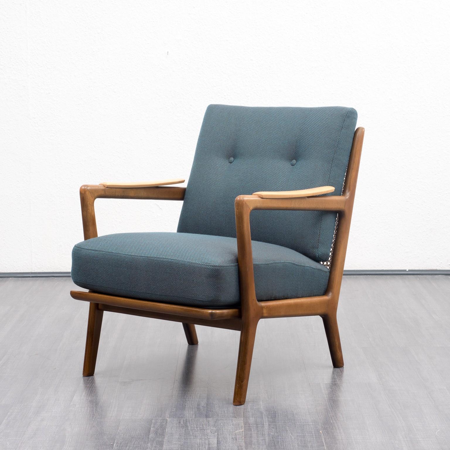 Vintage armchair in shapely solid beech wood frame 1950s vintage designer furniture