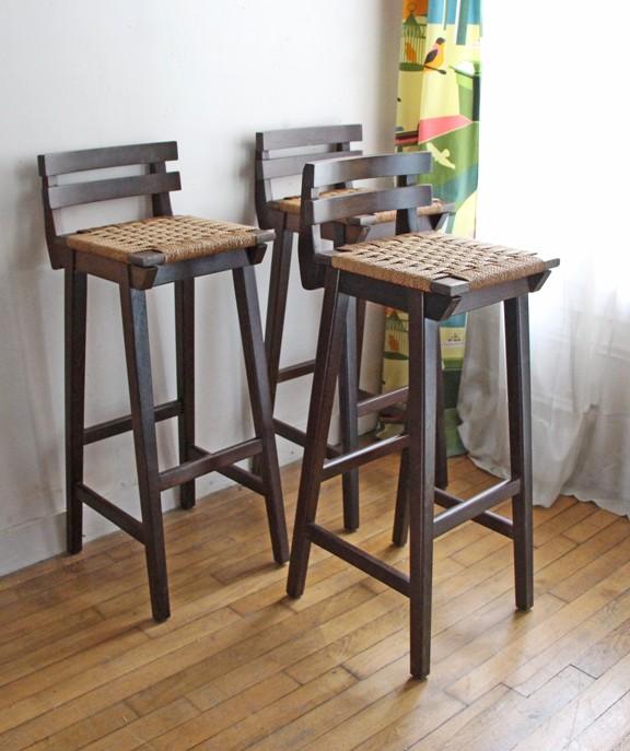 vintage bar stool in solid wood - 1970s - design market 1970s Bar Stools