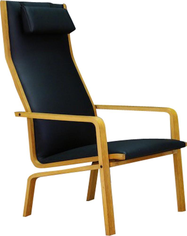 Scandinavian Black Vintage Armchair By Arne Jacobsen For Fritzhansen