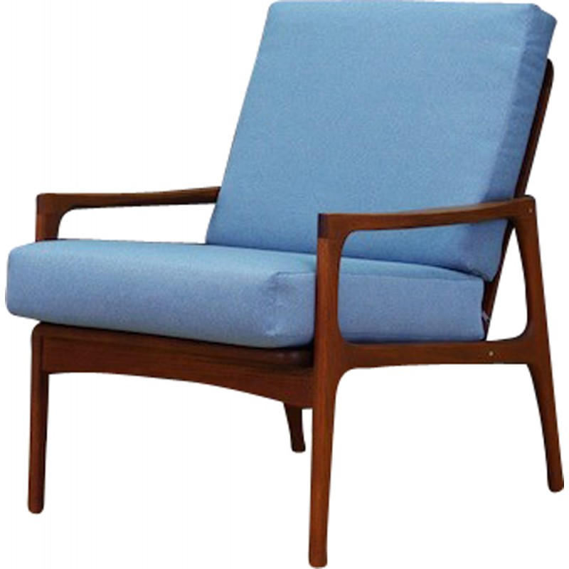 Vintage Retro Armchair In Blue Fabric   1960s