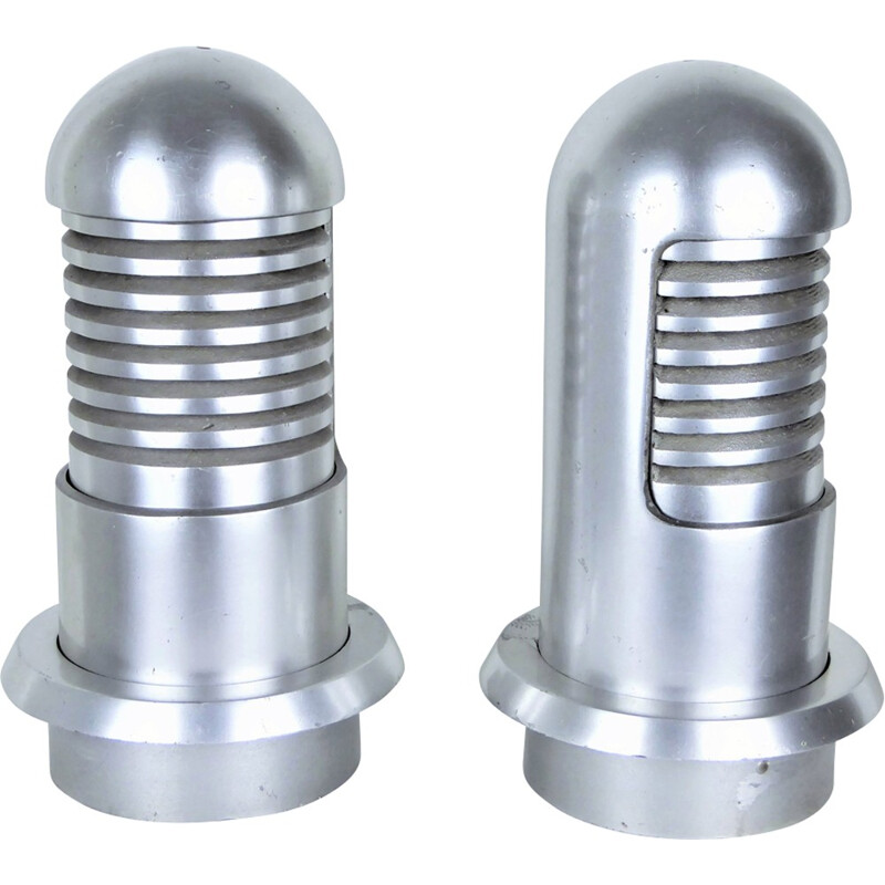 "Set of 2 Vintage ""Column"" lamps made of cast aluminum - 1960s"